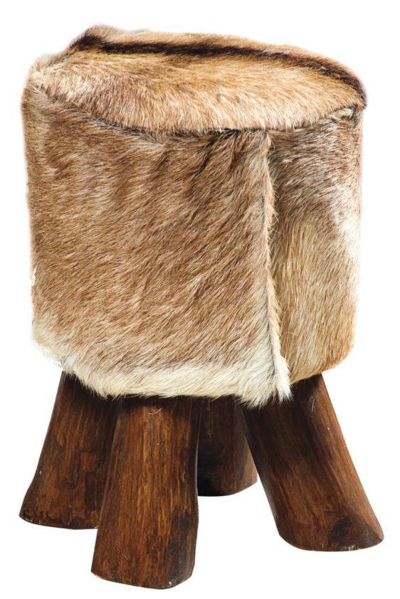 Σκαμπό Επενδεδυμένο με Δέρμα από Μασίφ Κορμό Δέντρου J-146507