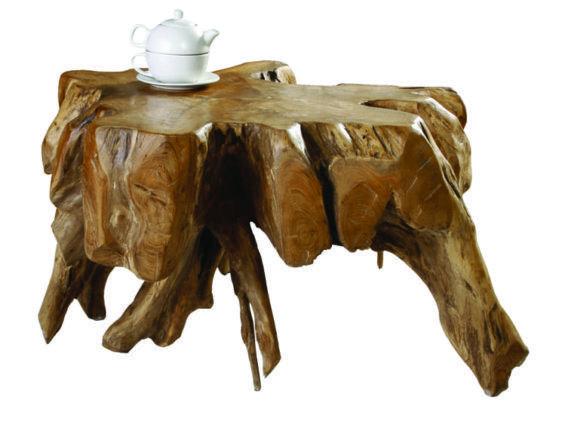 Τραπέζι Σαλονιού από Μασίφ Κορμό Δέντρου σε Ακανόνιστο Σχήμα J-146505
