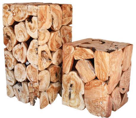 Σκαμπό Ξύλινο Κύβος από Μασίφ Κορμό Δέντρου J-146506