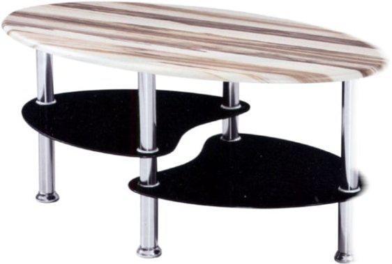 Τραπέζι Σαλονίου με Ξύλο Baltimore και Μαύρο Κρύσταλλο Sar-117538