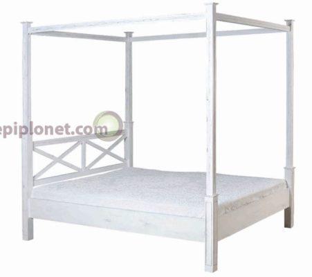 Κρεβάτι Διπλό σε Λευκή Πατίνα με Ουρανό J-143543