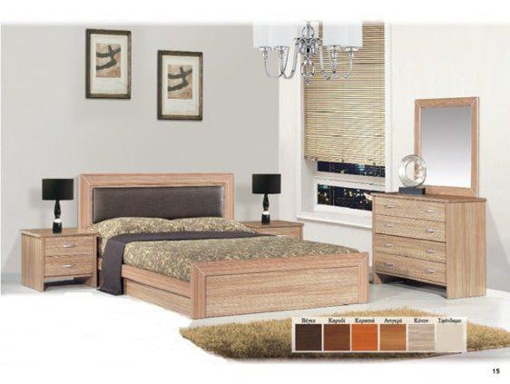 Κρεβάτι Ξύλινο με Δερματίνη στο Κεφαλάρι σε Χρώμα Κότον Ν44