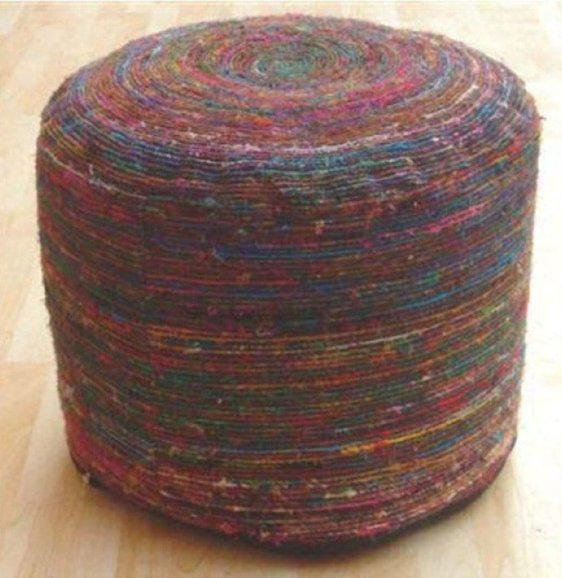 Μεταξωτό σκαμπό-πουφ πολύχρωμο J-Silk