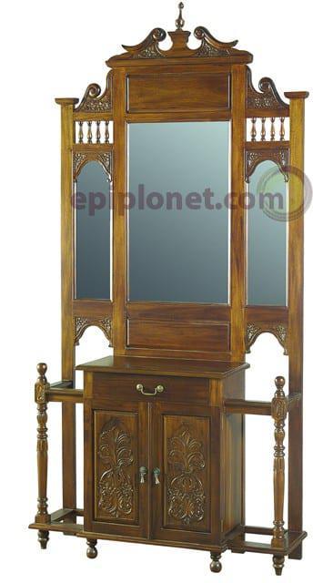 Έπιπλο εισόδου με καθρέφτη απο μαόνι J-137521
