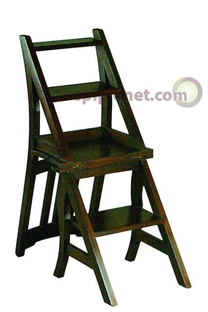 Καρέκλα-σκάλα απο μασίφ μαόνι J-135057