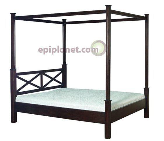 Κρεβάτι Διπλό με Ουρανό από Μασιφ Μαόνι Φουρνιστό BD20