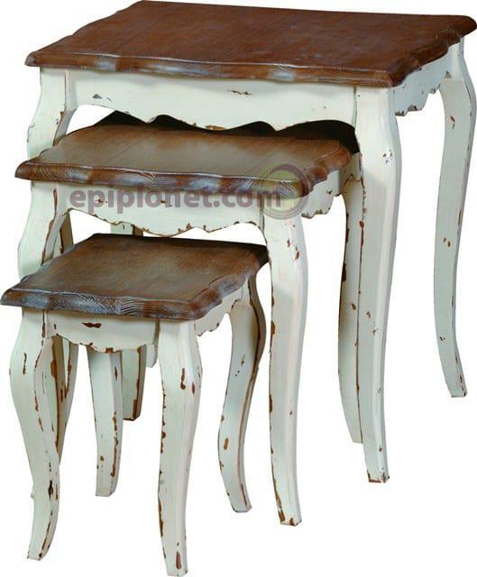 Τραπέζια Ζιγκόν για Σαλόνι από Μασίφ Ξύλο σε Πατίνα Αντικέ J-142508