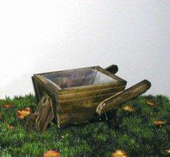 Ξύλινο Καροτσάκι Διακοσμητικό Κήπου με μια Ροδα 15-00-279