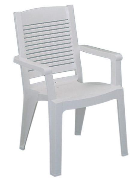Λευκή πλαστική πολυθρόνα για τον κήπο A-Manoa