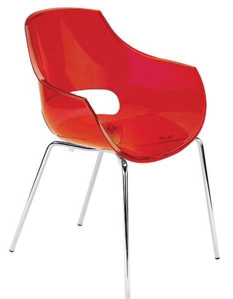 Καρέκλα με σκελετό χρωμίου και διάφανο κάθισμα Opal