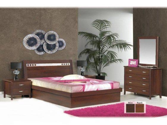 Κρεβάτι σε βέγκε χρώμα με inox λεπτομέρεια Ν45