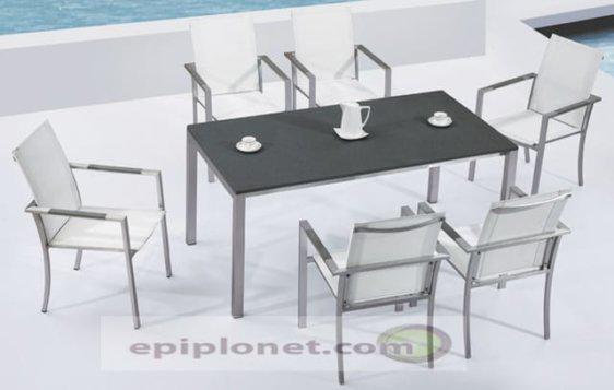 Καρέκλες και τραπέζι με επιφάνεια πέτρας για τον κήπο A-Illinois