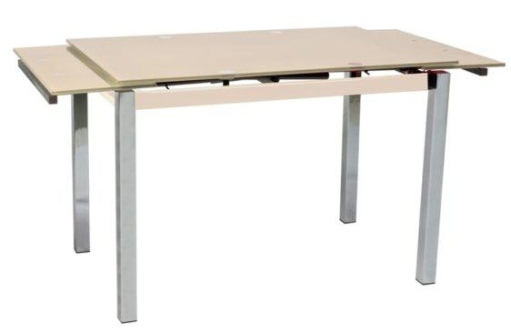110(170)x74x75εκ. τραπέζι κουζίνας ανοιγόμενο με κρεμ γυάλινη επιφάνεια V-140210