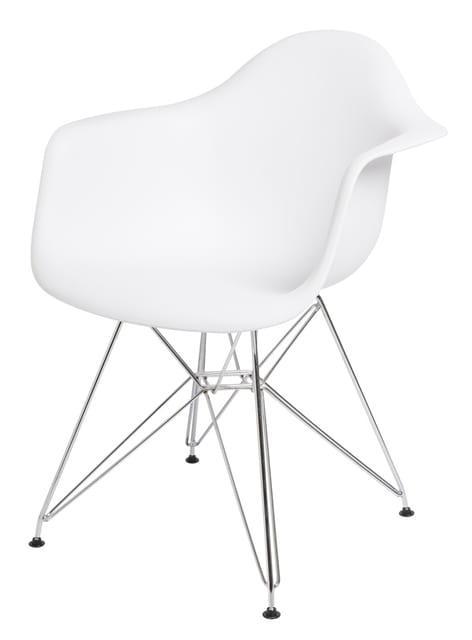 Πολυθρόνα σε λευκό χρώμα με σκελετό χρωμίου V-125124