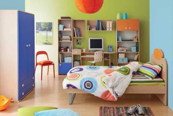 Παιδικό δωμάτιο με πορτοκαλί και μπλε αποχρώσεις