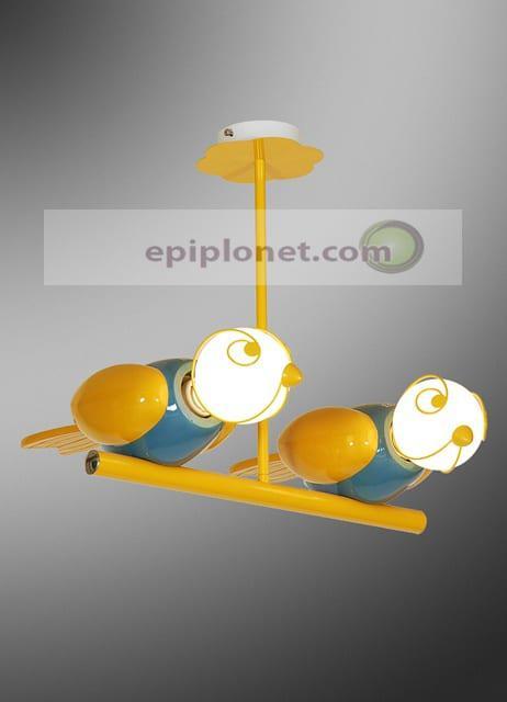 """Παιδικό φωτιστικό κρεμαστό δίφωτο """"κίτρινα πουλάκια"""" 730-301-015"""