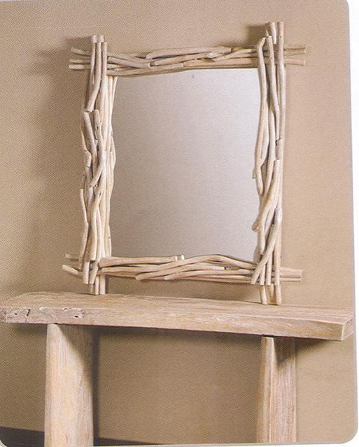 Κονσόλα με καθρέφτη απο κορμό δένδρου σε λιτό σχέδιο 142521
