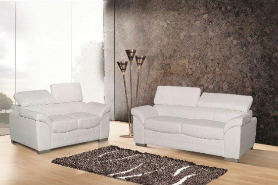 Λευκό σαλόνι δερμάτινο.Με ρυθμιζόμενη πλάτη U-Lisbon-102520