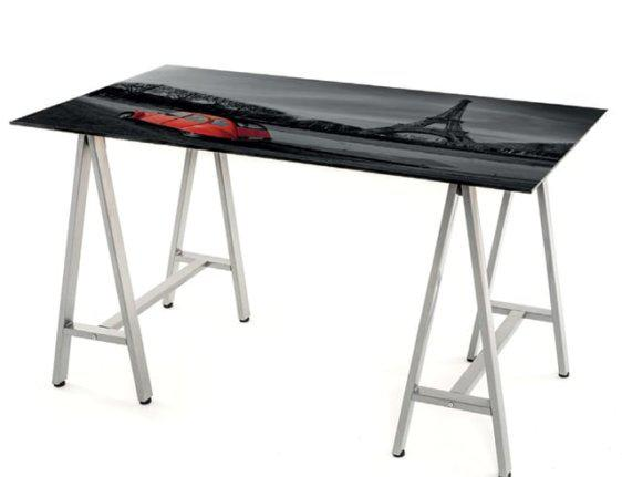 Γραφείο 120*60 με γυαλί και σκελετό χρωμίου Av-Parisi-124005