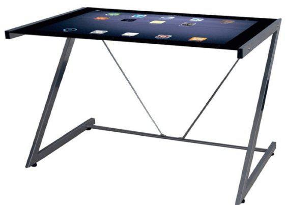 Γυάλινο γραφείο με εικόνα που απεικονίζει Tablet 124008
