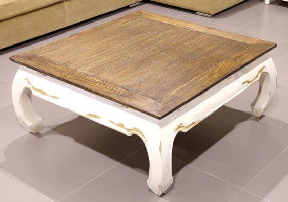 Δίχρωμο πατινέ τραπεζάκι σαλονιού απο ξύλο μασιφ μαόνι φουρνιστό 142522