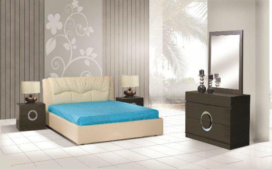 Δερμάτινο κρεβάτι για στρώμα 160*200 σε μπεζ απόχρωση U-Vivian