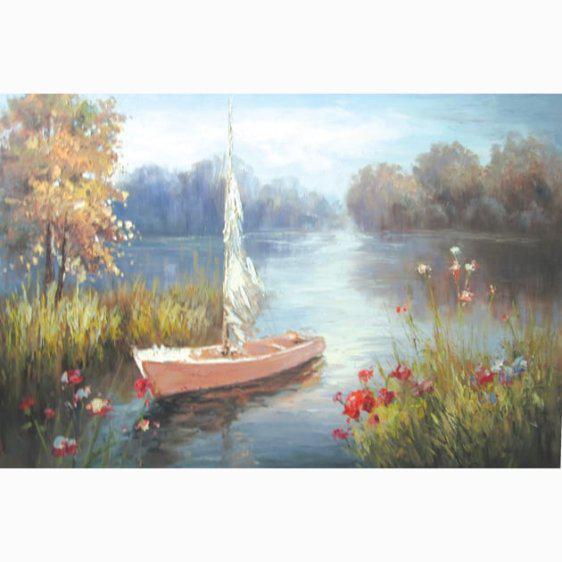 """Ρομαντικός πίνακας ζωγραφικής """"Τοπίο με Βάρκα"""" 15-00-14639"""