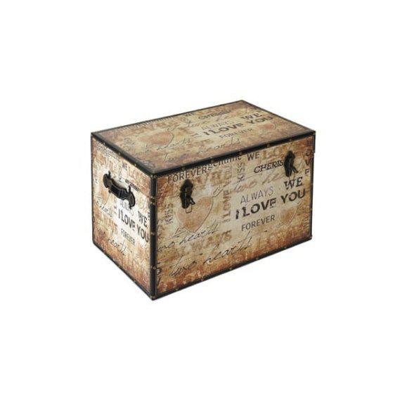 Αποθηκευτικό μπαούλο παλαιομένο με ταπετσαρία γράμματα 60-39892