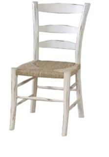 Καρέκλα με ψάθα σε πατίνα και παλαιωμένο στυλ J-143500