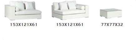 Καναπές εξωτερικού χώρου τριών μέτρων από χειροποίητο λευκό Wicker A-220329