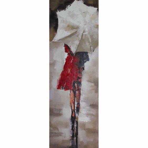 Πίνακας ζωγραφικής με κοπέλα ομπρέλα 30Χ90εκ. Μ-14650