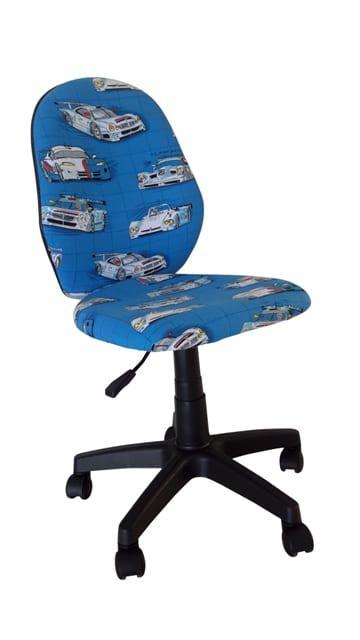 Καρέκλα Γραφείου Μπλε Με Αμάξια Για Σχέδιο Και Μεγάλη Πλάτη A-080336