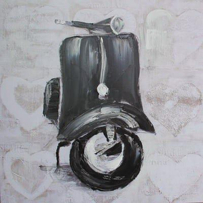 Πίνακας ζωγραφικής με θέμα Βέσπα Μαύρη 60Χ60εκ. Μ-14665
