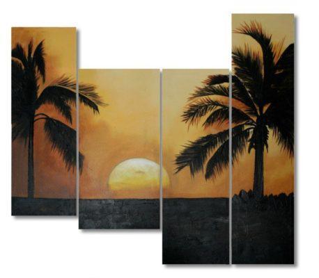"""85*80εκ.Πίνακας Ζωγραφικής Μοντέρνος με Θέμα """"Εξωτικό Τοπίο"""" 15-00-10207"""