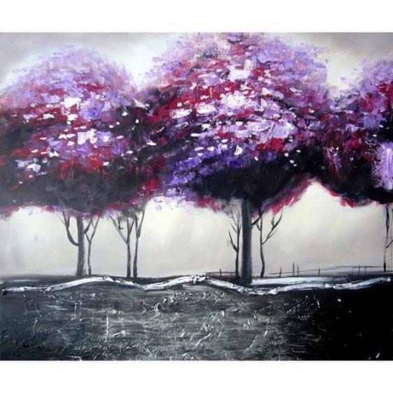 Πίνακας με δέντρα σε φούξια αποχρώσεις 80Χ80ΕΚ Μ-13217