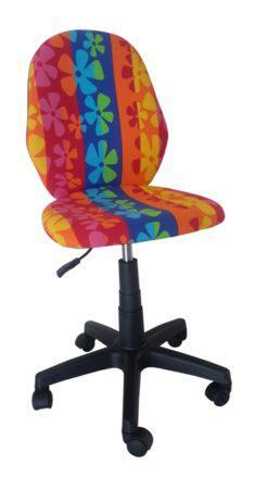 Πορτοκαλί Παιδική Καρέκλα Γραφείου Με Λουλούδια A-080335