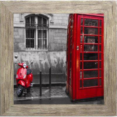 Μοντέρνος πίνακας ζωγραφικής με τηλεφωνικό θάλαμο σε κάδρο 35Χ35εκ. Μ-14708