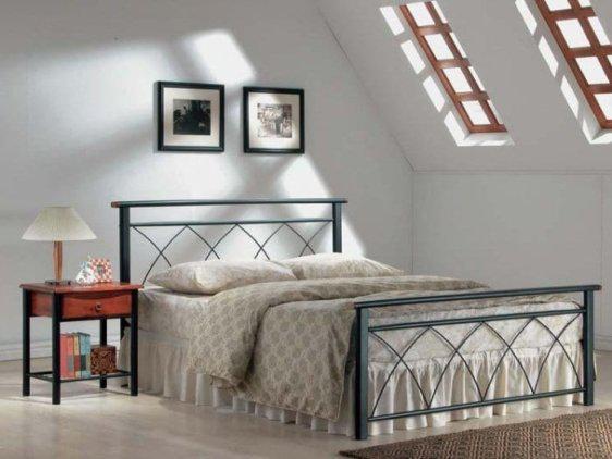 Κρεβάτι Ημίδιπλο Μεταλλικό με Ξύλο Sar-145470