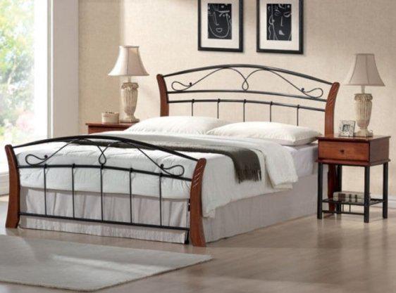 Κρεβάτι ημίδιπλο μεταλλικό με ξύλο Sar210470