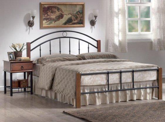 Κρεβάτι Μονό Μεταλλικό με Ξύλο Sar-200013