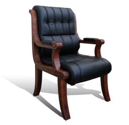Πολυθρόνα επισκέπτου ξύλινη με μάυρη δερματίνη G-080315