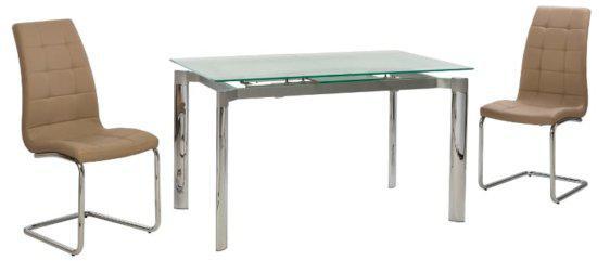 Τραπέζι Κουζίνας Γυάλινο με Σκελετό Χρωμίου V-123007