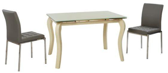 Τραπέζι Κουζίνας Γυάλινο με Καμπυλωτά πόδια V-123004