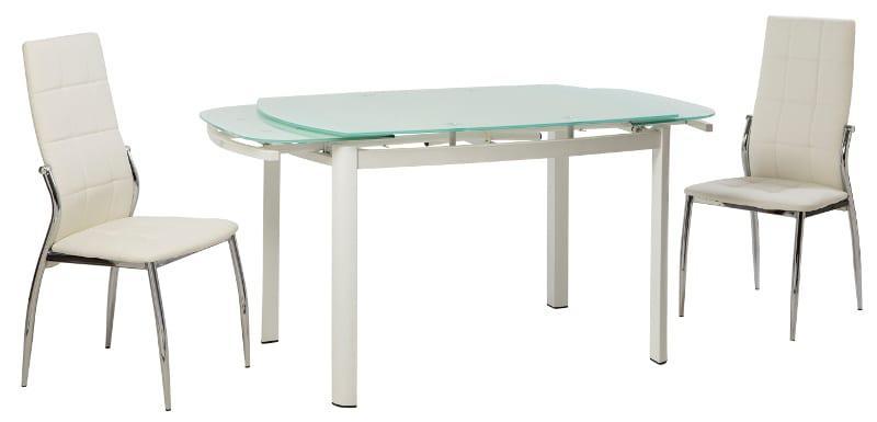 Τραπέζι Κουζίνας Γυάλινο με Σκελετό από λάκα V-123005