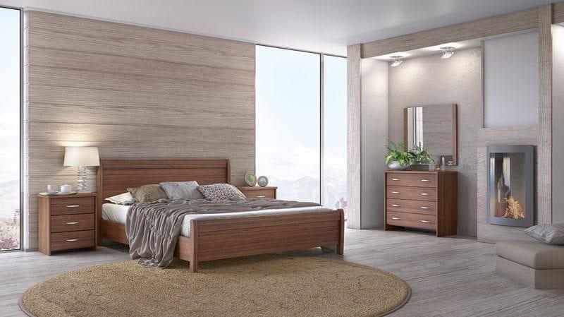 Ξύλινο κρεβάτι σε βέγγε ή καρυδί σε διάφορες διαστάσεις Ν26