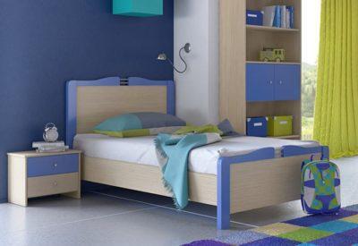 Παιδικό κρεβάτι δρυς -μπλε S-405000