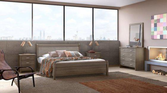 Διπλό κρεβάτι ξύλινο με Δερματίνη στο Κεφαλάρι S-050307