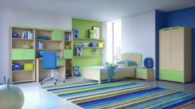 Πράσινο παιδικό δωμάτιο με περίτεχνο σχέδιο στις κορυφές S-280016