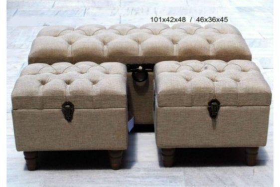 Υφασμάτινα Σκαμπό Μπαουλάκια σετ 3τμχ P-300022