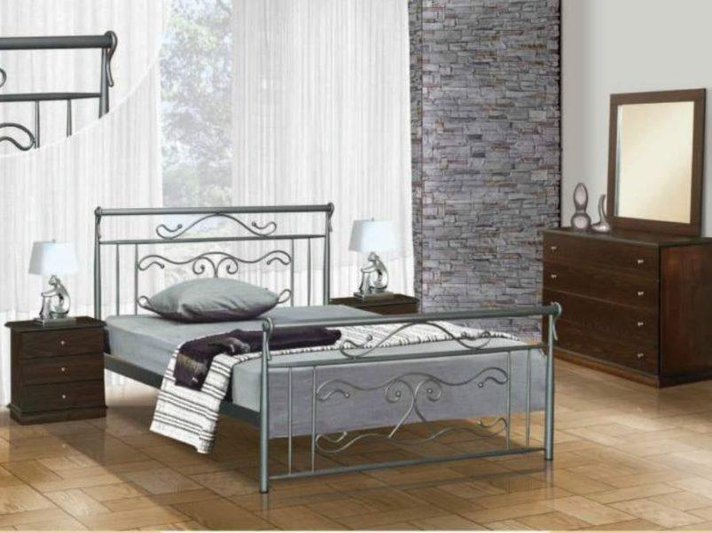 """Ασημί Μεταλλικό Κρεβάτι """"Φίδι""""  Μ-050629"""